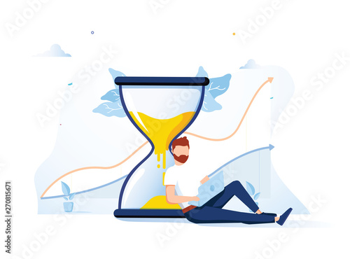 Happy man sitting near an hourglass and working on her laptop business process icons and infographics on background Fototapet
