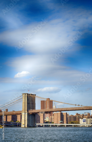 Poster New York Brooklyn Bridge at sunny day.