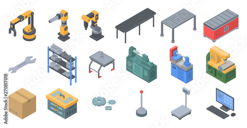 Cuadros en Lienzo Assembly line icons set