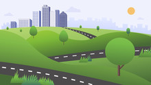 Beautiful Nature Scene With Road , Green Hills , And Town Vector.Cityscape With Nature Landscape