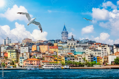 Photo  Golden Horn against Galata tower, Istanbul, Turkey