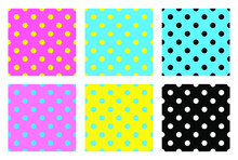 Seamless Pattern With Polka Dots. Polka Dot Fabric. Retro Vector Background Or Pattern. Random Multi-colored Polka Dot Texture On A Colored Background.