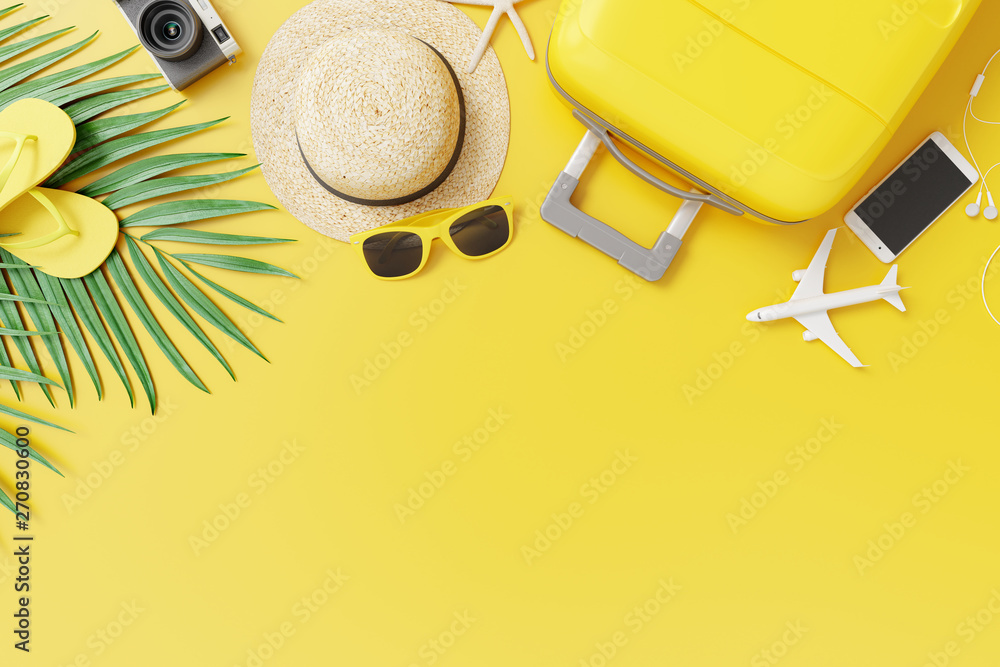Fototapety, obrazy: Flat lay yellow suitcase with traveler accessories and tropical palm leaves on yellow background. travel concept. 3d rendering