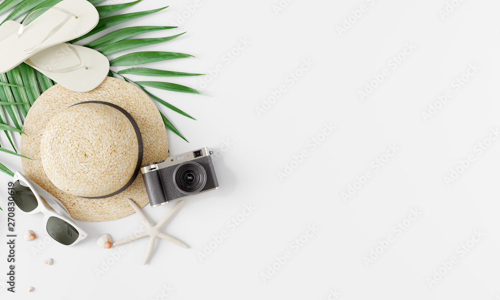 Fototapeta Flat lay traveler accessories on white bright background. Travel summer concept. 3d rendering