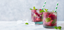 Raspberry Cocktail, Fizz, Lemonade, Ice Tea With Fresh Mint On Marble Background. Copy Space.