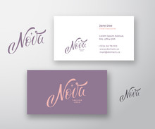 Nova Inscription Abstract Vector Logo And Business Card Template. Premium Stationary Realistic Mock Up. Premium Quality Hand Drawn Lettering With Star Silhouette.