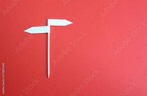 Two side arrow sign background made of paper Canvas Print