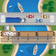 Road And Railway Bridges. View From Above. Vector Illustration.