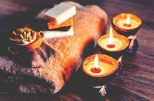 Burning Spa Aroma Candles In C...