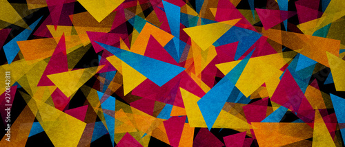 illustration of triangles and angled shapes,  colorful abstract background with geometric elements, panoramic image - 270842811