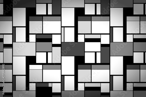 Photo  Grayscale painting in Mondrian's style, wide artistic background