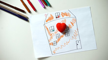 Kid Putting Heart Figure On House Painting, Looking For Home And Family, Orphan