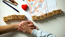 Child Custody Phrase And Toy Heart On House Picture, Kid Holding Mother Hand