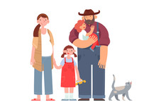 Happy Farmer With His Wife, Children And Cat. Flat Cartoon Vector Illustration.