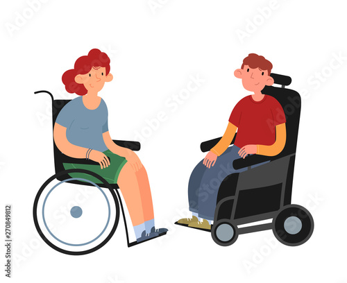 Disabled people. Boy and girl in wheelchairs. Flat cartoon vector illustration.