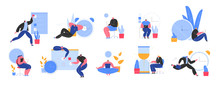 Set Of People Successfully Organizing Their Appointments And Tasks . Situations And Office Scenes With Efficient And Effective Time Management And Multitasking At Work. Flat Vector Illustration.