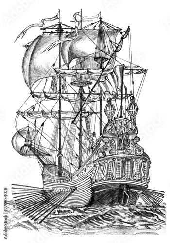 In de dag Schip Drawing vector illustration of the old wooden vessel with many sails in the ocean in the back and side views