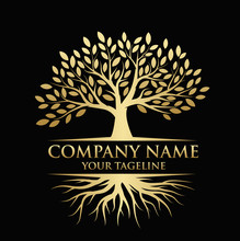 Abstract Tree Logo Design With...