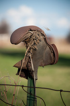Old Boot On A Fence Post