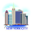New York city label illustration. Colorful realistic elements.