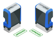 Isometric Stamp Approved Set. Approved Green Ink Stamp Isolated On White Background.