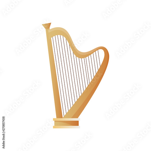 Fototapeta Old ancient musical instrument wood harp with many strings