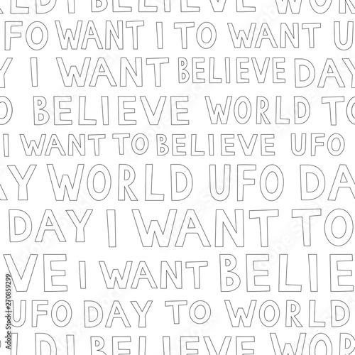 Платно UFO day outline pattern, simple seamless background
