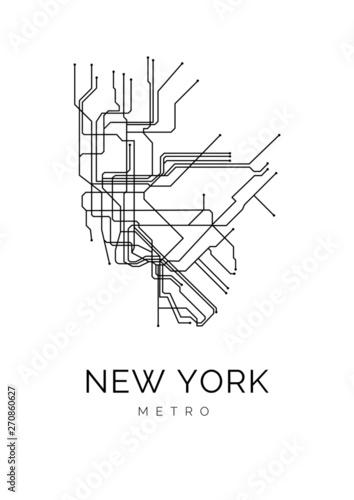 Grafika liniowa New York Metro czarno-biała