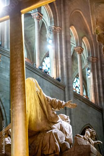 Stampa su Tela PARIS – FRANCE: Interior of the Notre Dame de Paris cathedral, France