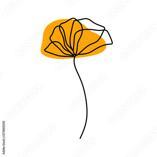 poppy flower one continuous line drawing minimalist design - 270865038