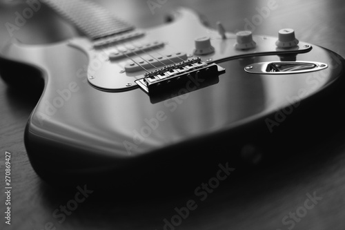 Black and White guitar - Musical instrument Canvas Print