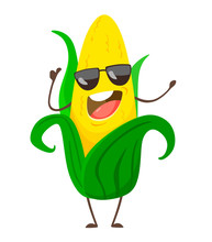 Corn. Cute Funny Corn In Cartoon Style With Sunglasses. Vector Isolate On White Background