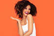 Happy afro girl in glamour makeup.