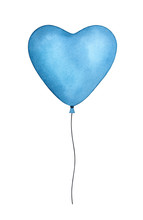 Blue Heart Shaped Balloon With Black Waving Twine. One Single Object. Handdrawn Water Color Sketchy Drawing On White, Cutout Clip Art Element For Creative Design Decoration, Holiday Card, Invitation.