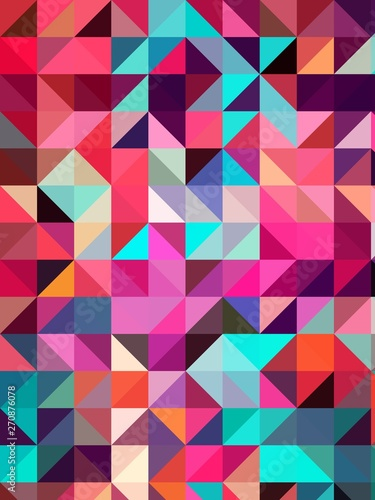 Fotobehang ZigZag squares and triangles isometric abstract conceptual colorful background and patterns