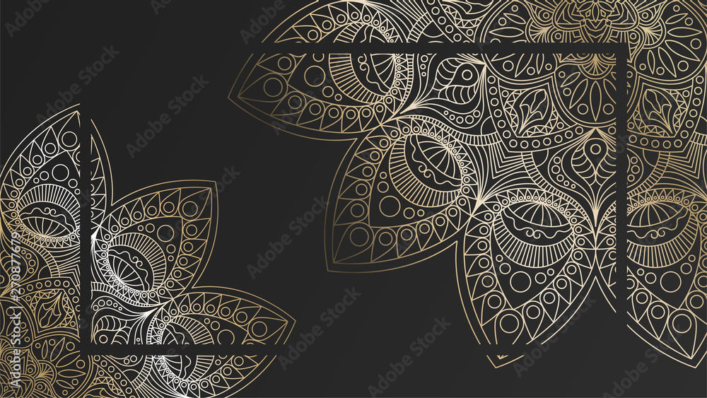Fototapeta Black rich background with a gold round patterns, shiny mandalas, oriental background