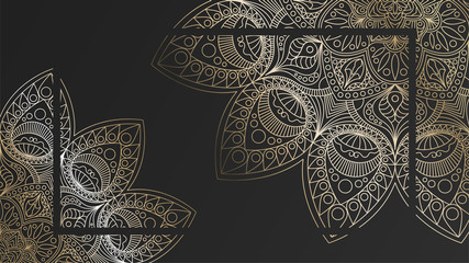 Black rich background with a gold round patterns, shiny mandalas, oriental background