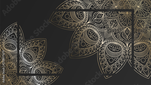 Black rich background with a gold round patterns, shiny mandalas, oriental backg Wallpaper Mural