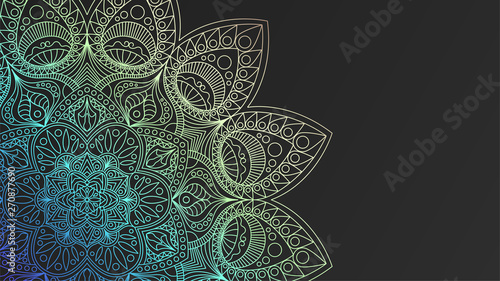Fototapeta  Black rich background with a iridescent round pattern, shiny mandala, oriental b