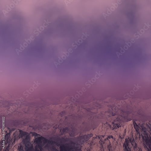 Poster Prune 3d generated fantasy landscape of lonely desert mountains