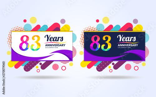 Fotografia  83 years pop anniversary modern design elements, colorful edition, celebration t