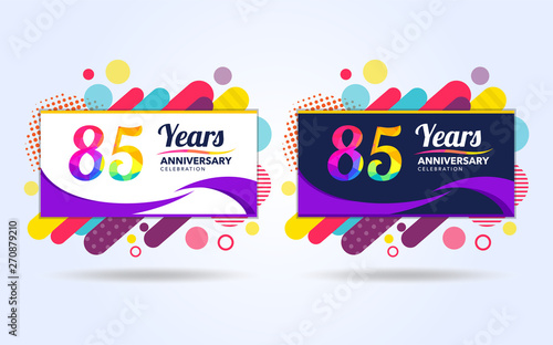 Cuadros en Lienzo 85 years pop anniversary modern design elements, colorful edition, celebration t