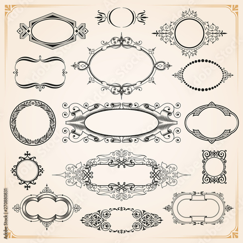 Fototapeta Decorative rounded circle and oval frames and borders set obraz