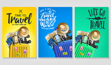 Travel Poster Set Template With Traveling Bag And Message Logo Text In Gradient Background With Mesh 3D Realistic Travel Elements. Vector Illustration