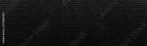 Photo Panorama of Black brick stone wall seamless background and texture