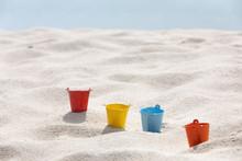 Toys Put On The White Sand Beach