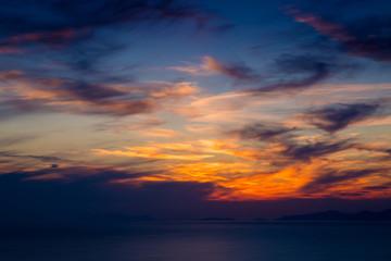 Fiery orange sunset sky. Bali, Indonesia