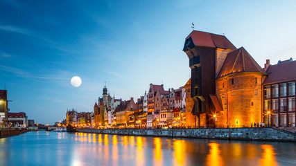 Panel Szklany Wschód / zachód słońca Harbor at Motlawa river with old town of Gdansk