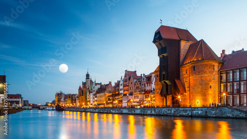 Poster Northern Europe Harbor at Motlawa river with old town of Gdansk