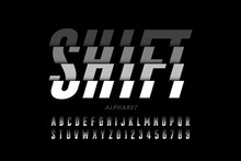 Modern Font Design, Shifted Style Alphabet, Letters And Numbers